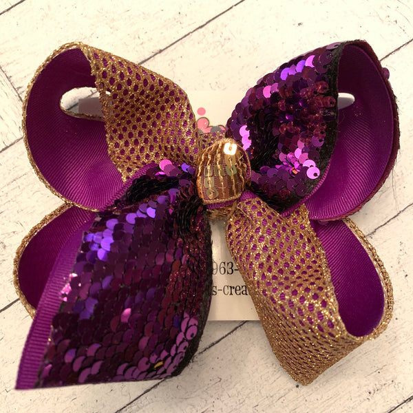 Purple/Gold Flip Reversible Sequin Tail LSU Jumbo or Large Layered Hair Bow