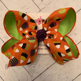 Orange Canvas Halloween Candy Corn Print Jumbo or Large Layered Hair Bow