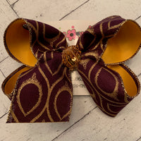 LSU Themed Purple/Gold Glitter Peacock Print Jumbo or Large Layered Hair Bow