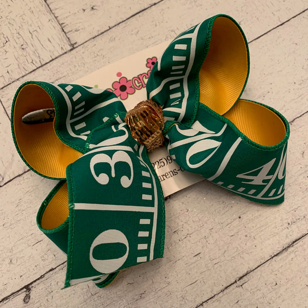 Football Field Print Jumbo or Large Layered Hair Bow