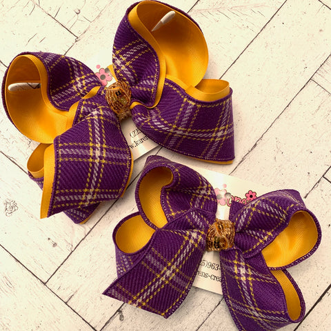 LSU Themed Purple/Yellow Gold Plaid Jumbo or Large Layered Hair Bow
