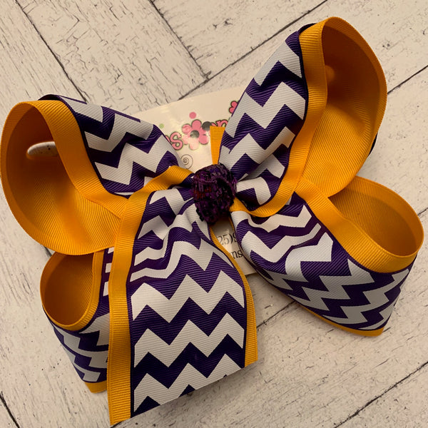 LSU Themed Gold/Purple Chevron Print Jumbo or Large Layered Hair Bow
