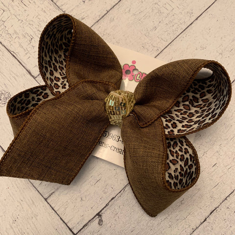 Brown w/Leopard Print Underlay Large Layered Hair Bow
