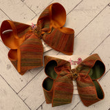 Fall Metallic Stripes Jumbo or Large Layered Hair Bow