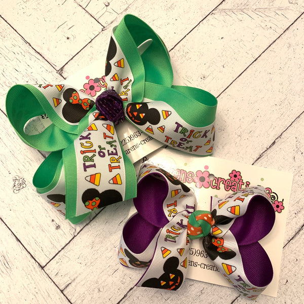 Halloween Disney Mouse Ears Trick or Treat Large Medium or Small Layered Hair Bow