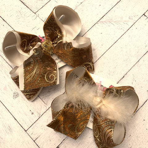 Metallic Glitter Paisley Print Jumbo or Large Layered Hair Bow