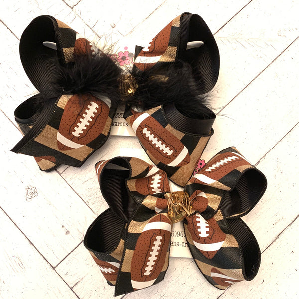 Saints Black/Gold Metallic Football Print Jumbo or Large Layered Hair Bow