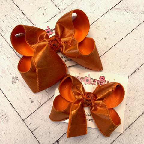 Orange Metallic Shimmer Dupioni Silk Jumbo or Large Layered Hair Bow