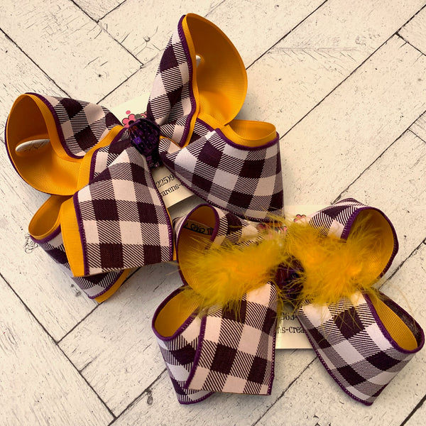 LSU Themed Gold w/Purple Check Print Jumbo or Large Layered Hair Bow