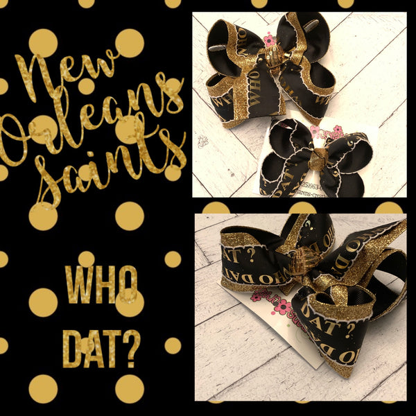 Saints WHO DAT? Moonstitch Jumbo Large Medium or Small Layered Hair Bow