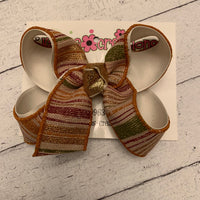 Fall Gradient Stripes Large Medium or Small Layered Hair Bow