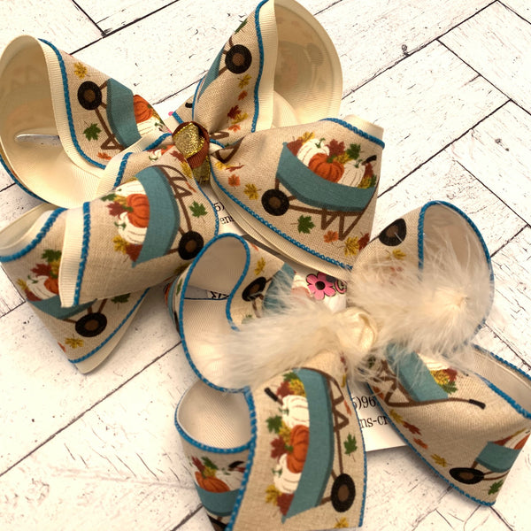 Fall Blue Vintage Wheelbarrow w/Pumpkins Print Jumbo or Large Layered Hair Bow