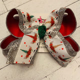 Christmas Unicorn Print Large Layered Hair Bow