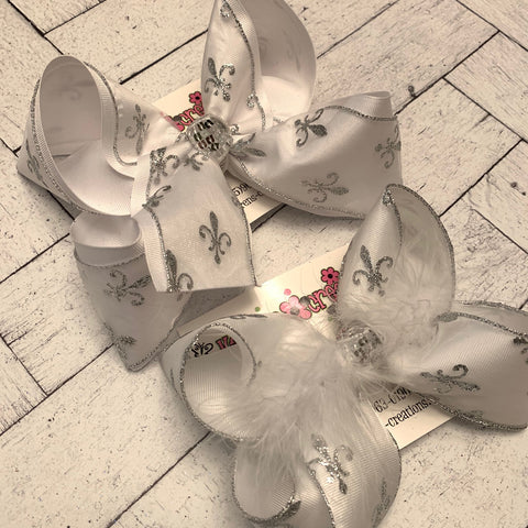 Sheer White w/Silver Glitter Fleur De Lis Jumbo or Large Layered Hair Bow