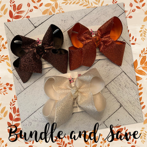 Fall/Autumn Glitter Ribbon Jumbo or Large Layered Hair Bow Bundle