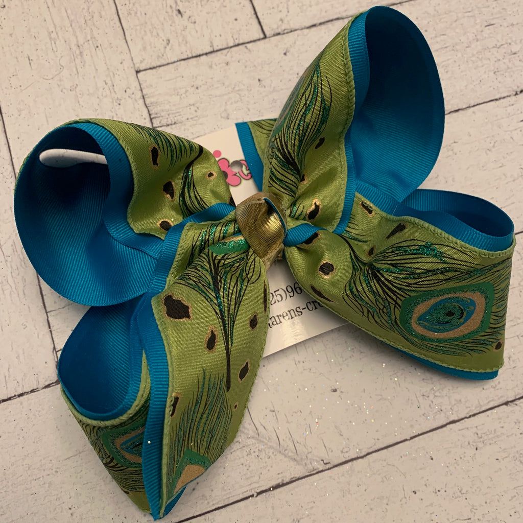 Lime Glitter Peacock Print Jumbo or Large Layered Hair Bow