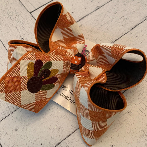 Orange Gingham Thanksgiving Turkey Monogrammed Jumbo or Large Layered Hair Bow