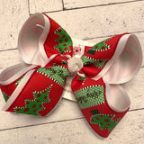 Whimsical Glitter Merry Christmas Tree Jumbo or Large Layered Hair Bow