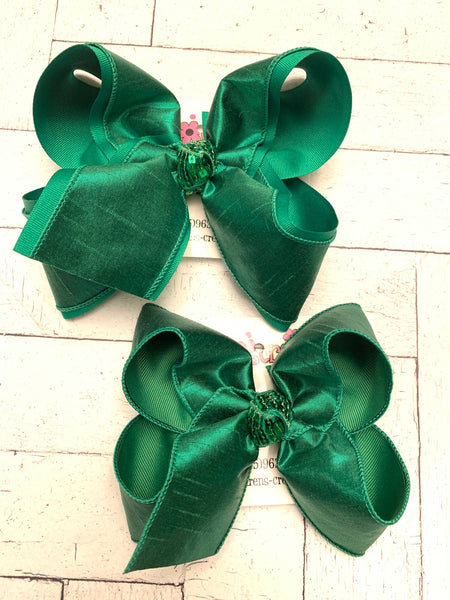 Emerald Green Metallic Shimmer Dupioni Silk Jumbo Large Medium or Small Layered Hair Bows