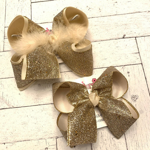 Champagne Gold Glitter Ribbon Jumbo, Large or Medium Layered Hair Bow
