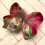 Rainbow Dots Sloth Print Glitter Jumbo or Large Layered Hair Bow
