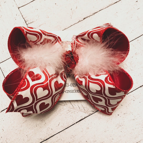Valentine's Day Hourglass Hearts Jumbo or Large Layered Hair Bow