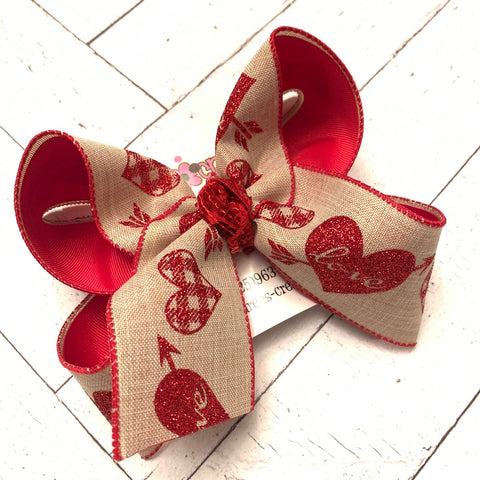 Valentine's Day Jumbo Glitter Hearts Jumbo or Large Layered Hair Bow