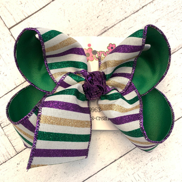 Mardi Gras PGG Horizontal Glitter Stripes Jumbo or Large Layered Hair Bow