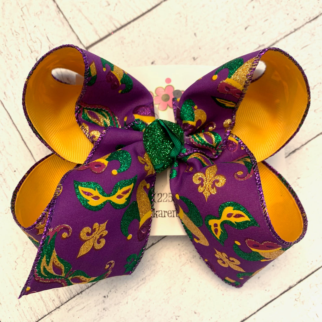 Mardi Gras Glitter Hats/Masks Jumbo or Large Layered Hair Bow