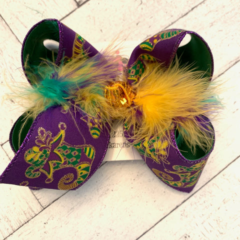 Mardi Gras Glitter Jester Shoes Jumbo or Large Layered Hair Bow