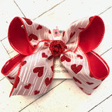 Valentine's Day Glitter Hearts with Lines Jumbo or Large Layered Hair Bow