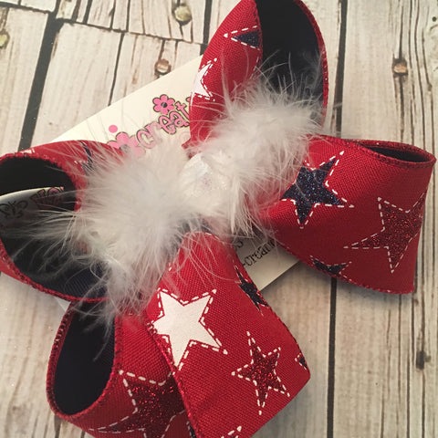 Red Canvas w/Glitter Stars Jumbo or Large Layered Hair Bow