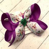 Mardi Gras Unicorn Print Large Medium Small Layered Hair Bow