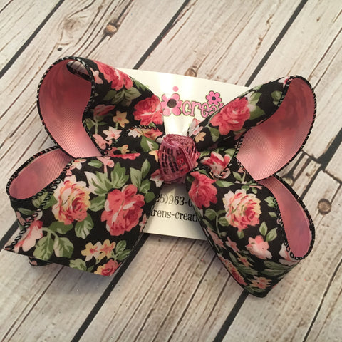 Black Floral Print Jumbo or Large Layered Hair Bow