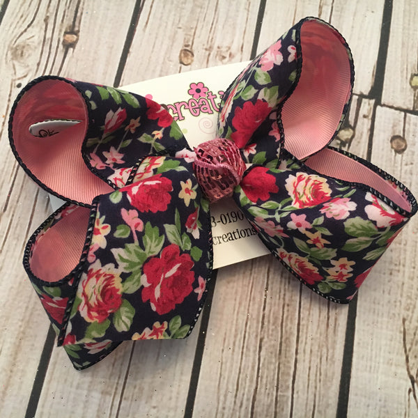 Navy Floral Print Jumbo or Large Layered Hair Bow