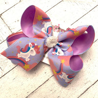 Unicorn Rainbow Jumbo or Large Layered Hair Bow