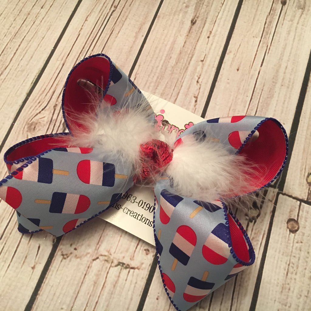 Patriotic Popsicle Print Jumbo or Large Layered Hair Bow