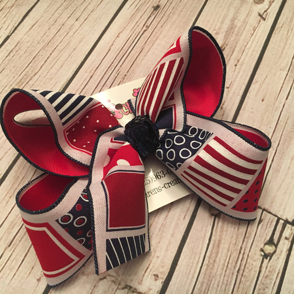 Patriotic Patterned Squares Print Jumbo or Large Layered Hair Bow