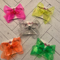 Neon Jelly Waterproof Ribbon Large Medium or Small Single Layer Hair Bow
