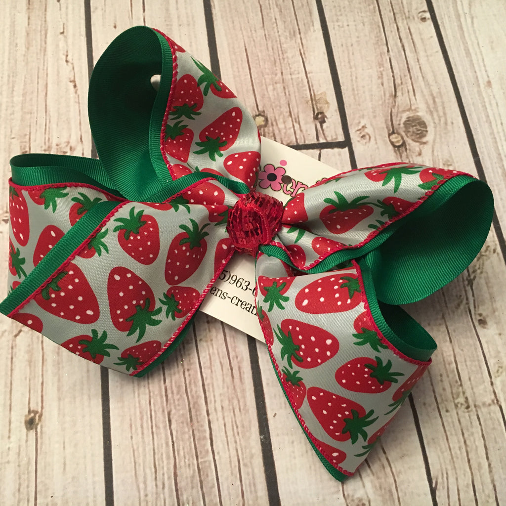 Summer Strawberry Print Jumbo or Large Layered Hair Bow