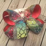 Silver Foil Rainbow Tie Dye Pastel Print Jumbo Large or Medium Layered Hair Bow