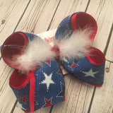 Royal Canvas w/Glitter Stars Jumbo or Large Layered Hair Bow