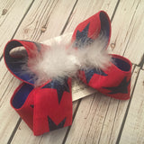 Patriotic Red Canvas w/Navy Glitter Stars Jumbo or Large Layered Hair Bow