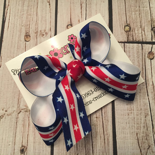 Patriotic Stars and Stripes Print Large or Medium Layered Hair Bow