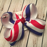 Patriotic Tri-Stripe Jumbo Large or Medium Layered Hair Bow