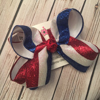 Patriotic Glitter Tri-Stripe Jumbo or Large Layered Hair Bow