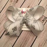 White w/Silver Fleur De Lis Print Jumbo or Large Layered Hair Bow