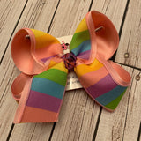 Pastel Rainbow Stripes Jumbo or Large Layered Hair Bow