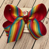 Primary Rainbow Stripes Jumbo or Large Layered Hair Bow