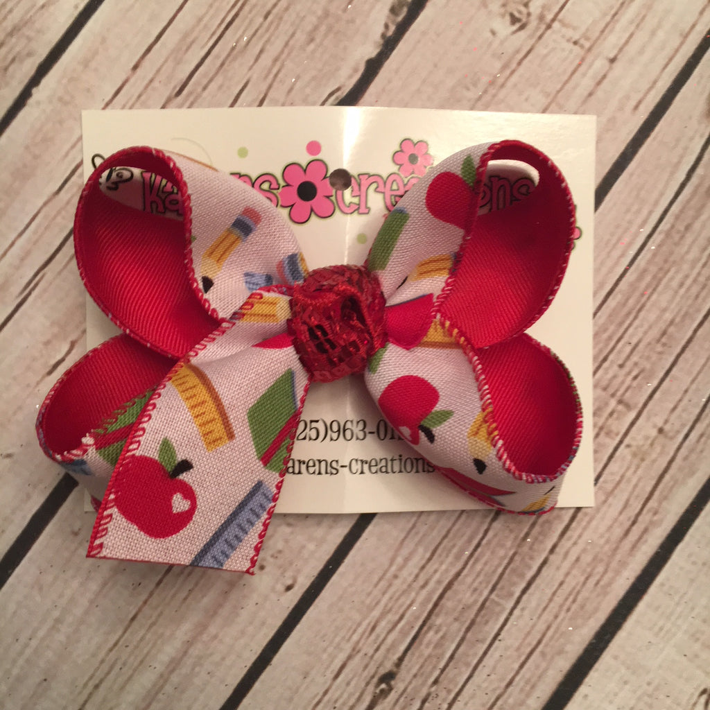Back to School Print Large or Medium Layered Hair Bow